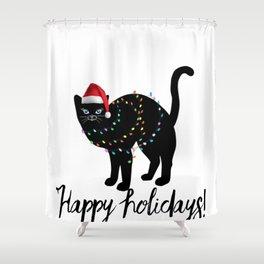 Christmas cat tshirt  Shower Curtain