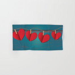 Red paper hearts tie to a rope Hand & Bath Towel
