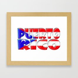 Puerto Rico Font with Puerto Rican Flag Framed Art Print