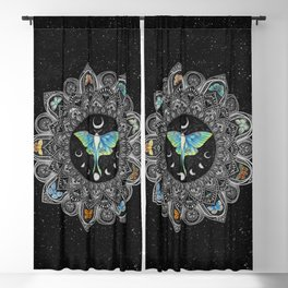Lunar Moth Mandala with Background Blackout Curtain