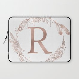 Letter R Rose Gold Pink Initial Monogram Laptop Sleeve