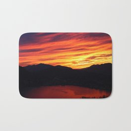 Sunset behind the mountains Bath Mat