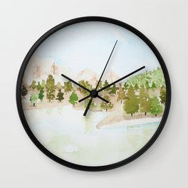 Pines and mountains Wall Clock