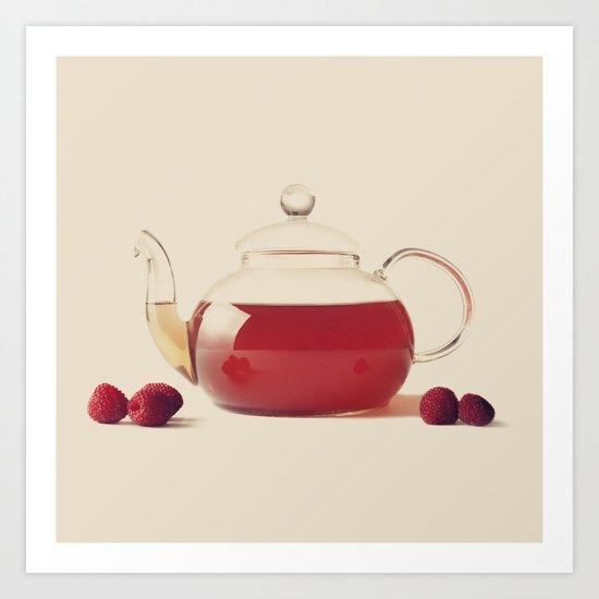 Raspberry Tea (Retro and Vintage Still Life Photography) Art Print