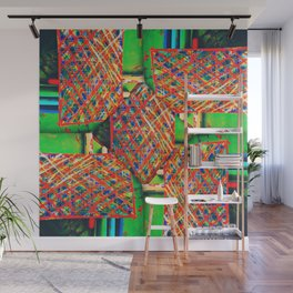 number 246 lime green yellow blue  pattern Wall Mural