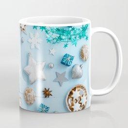 Blue Christmas decoration on wood Coffee Mug