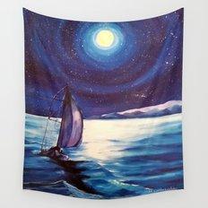 Moon-lit Sail Wall Tapestry