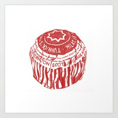 Tea Cake pen drawing (red) Art Print