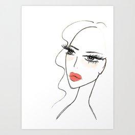 Red lips girl portrait Art Print