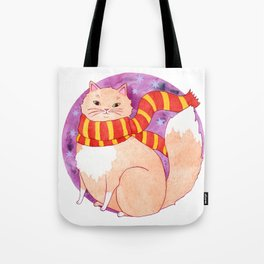 Brave Wizard Cat in a Scarf Tote Bag