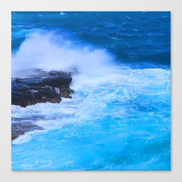 Tropical Island Sapphire Blue Ocean Waves With Foamy Surf Canvas Print