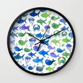 Blue Green Watercolor Fish Pattern Wall Clock