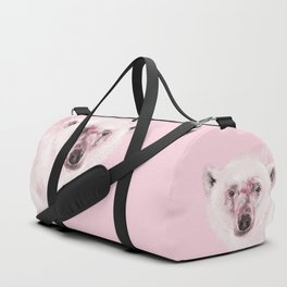 Polar Bear in Pink Duffle Bag