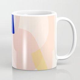 Modern Abstract Peach Pink Navy Blue Yellow Pattern Coffee Mug