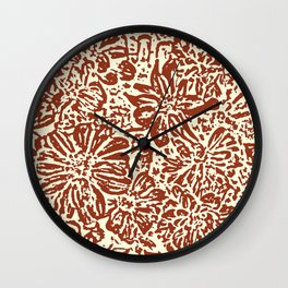 Marigold Lino Cut, Sepia Wall Clock