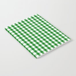 Christmas Green Gingham Check Notebook