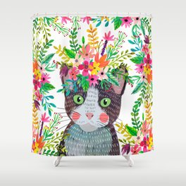 Cat with flowers Shower Curtain
