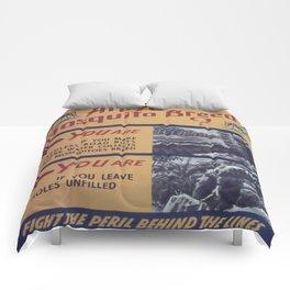 Vintage poster - Mosquito breeder Comforters