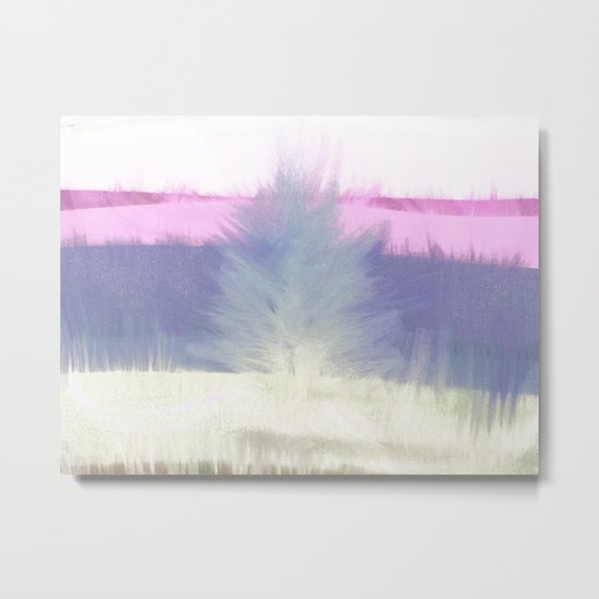 Winter with Tree and Grass Metal Print