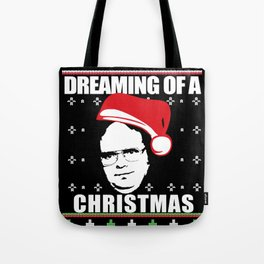 DREAMING OF A DWIGHT CHRISTMAS Ugly XMas  Sweater The Office Tote Bag