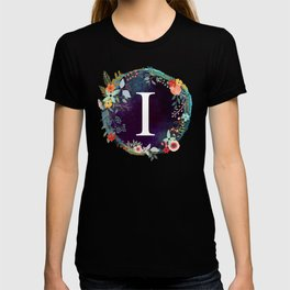 Personalized Monogram Initial Letter I Floral Wreath Artwork T-shirt