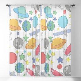 Cartoon Space Pattern Sheer Curtain