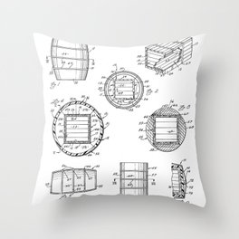 Whisky Barrel Patent - Whisky Art - Black And White Throw Pillow