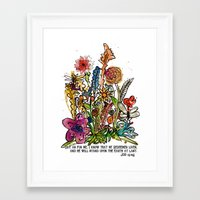 scripture Framed Art Prints featuring Floral Watercolor with Scripture by Megan Schreurs