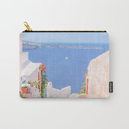 Santorini Greece Mamma Mia pink street travel photography Carry-All Pouch