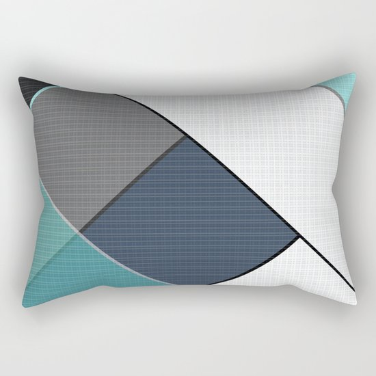 Grey-blue-black pattern . Abstraction . Patchwork . Rectangular Pillow