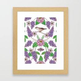 Lilacs, Peonies, Hellebore, & Sparrows - Pink & Purple Flowers w/ Birds & Moths Framed Art Print