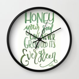 Evergreen Soul lyrical quote Wall Clock