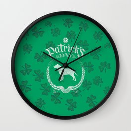 St. Patrick's Day Pit Bull Funny Gifts for Dog Lovers Wall Clock