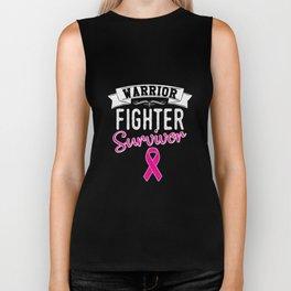 Warrior Fighter Survivor Pink Ribbon Biker Tank