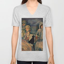 Marion Davis Monumental Portrait of the Gilded Age landscape painting by Federico Beltran Masses Unisex V-Neck