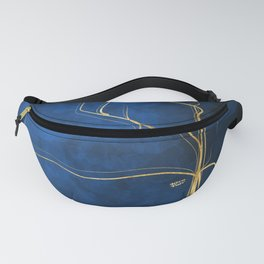 Kintsugi Electric Blue #blue #gold #kintsugi #japan #marble #watercolor #abstract Fanny Pack