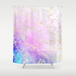 Modern rainbow glitter marble on nebula watercolor ombre Shower Curtain