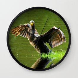 Cormorant flight Wall Clock