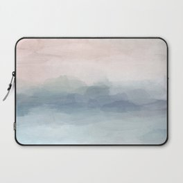 Blush Pink Mint Sky Baby Blue Abstract Ocean Sky Sunrise Wall Art, Water Clouds Painting Laptop Sleeve