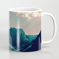 snowboarding Mugs featuring Mountain Call by Schwebewesen • Romina Lutz