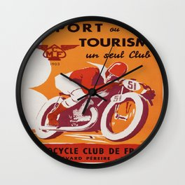 Vintage poster - Motocycle Club de France Wall Clock