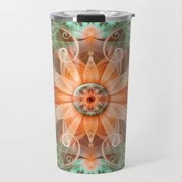 Beautiful Jeweled Peach Star Fractal Orchid Flower Travel Mug