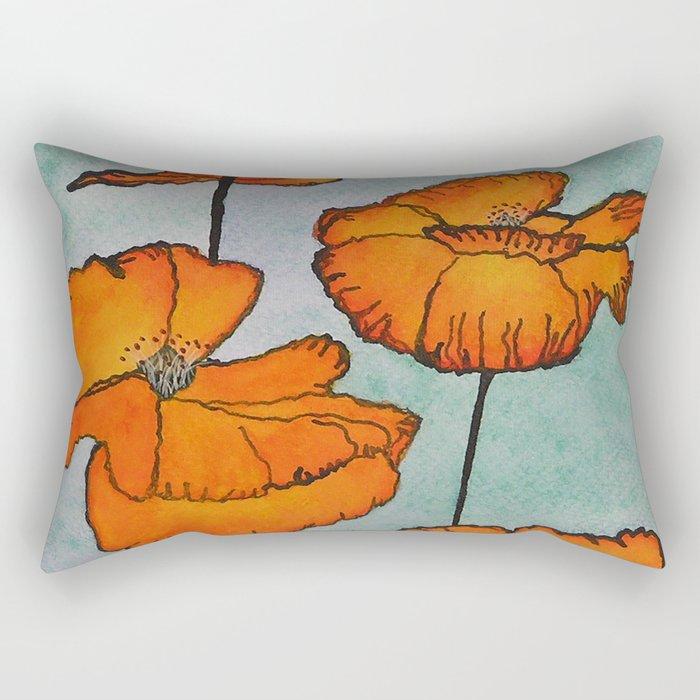 Orange Poppies / Mixed Media Painting Rectangular Pillow