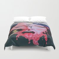 notebook Duvet Covers featuring She's a Bit Touched by Ana Lillith Bar