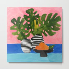 Pink Wall Monstera Metal Print