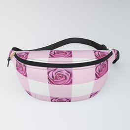 Pink Rose Check Pattern Fanny Pack