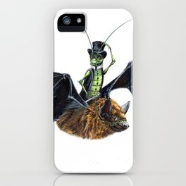 Rider in the Night.  Fantasy watercolor of a bat in the night with a cricket as his rider. Animal iPhone Case