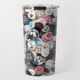A lot of colorful sewing buttons of different colors of metal and plastic on linen light natural fabric Travel Mug