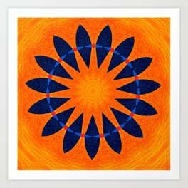 Blue flower petals with orange background Art Print