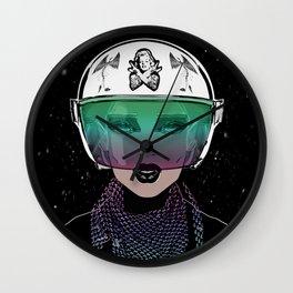 Let Me In Dude - Biker Girl Portrait Helmet Wall Clock